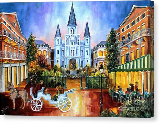 Squares Canvas Print - The Hours On Jackson Square by Diane Millsap