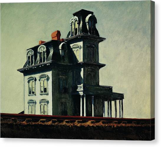 Haunted House Canvas Print - The House By The Railroad by Edward Hopper