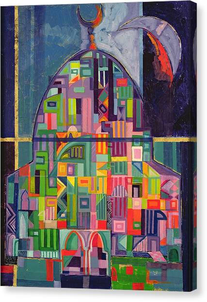 House Of Worship Canvas Print - The House Of God, 1993-94 Acrylic & Gold Pigment On Canvas by Laila Shawa