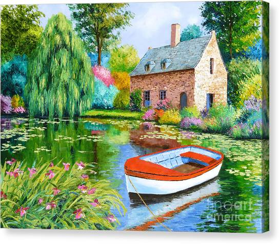 Weeping Willows Canvas Print - The House Pond by Jean-Marc Janiaczyk