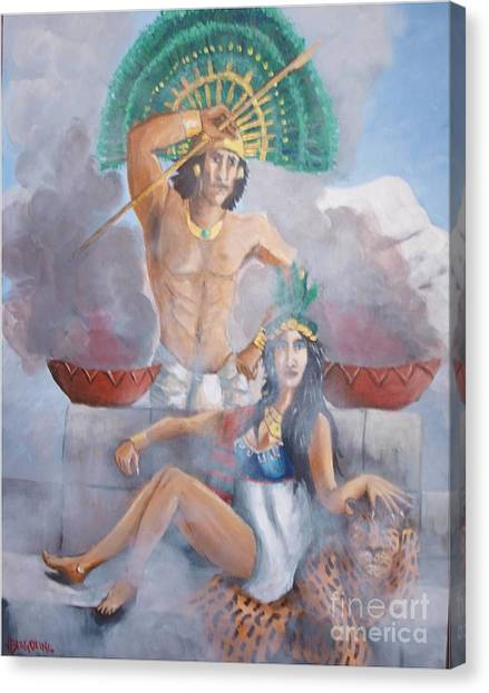 The Huey Tlatoni Or Emperor And Wife Canvas Print