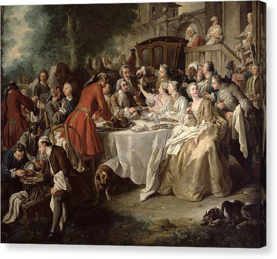 Pleasure Horse Canvas Print - The Hunt Lunch, Detail Of The Diners by Jean Francois de Troy