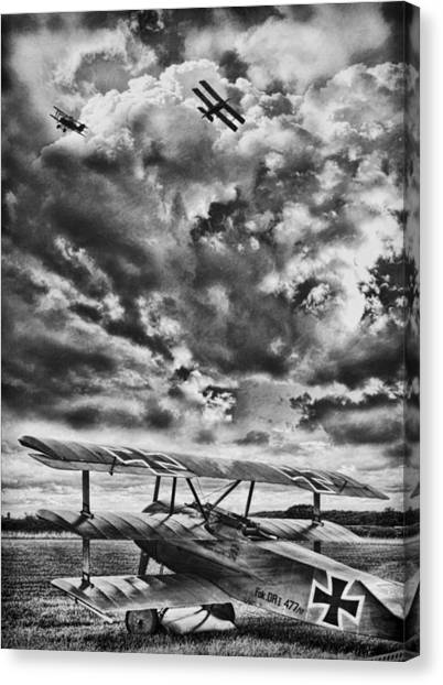Biplane Canvas Print - The Hunter Bw by Peter Chilelli