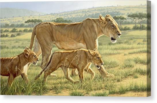 Kenyan Canvas Print - The Hunting Lesson by Paul Krapf
