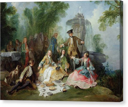 Rococo Art Canvas Print - The Hunting Party Meal, C. 1737 Oil On Canvas by Nicolas Lancret