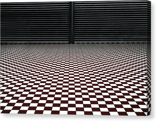 Checker Canvas Print - The Hypnotic Floor by Gilbert Claes