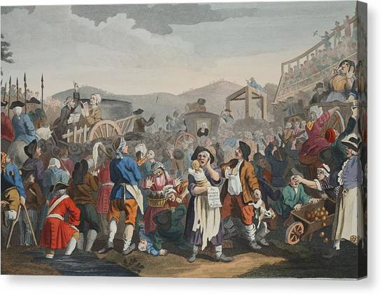 Carts Canvas Print - The Idle Prentice Executed At Tyburn by William Hogarth