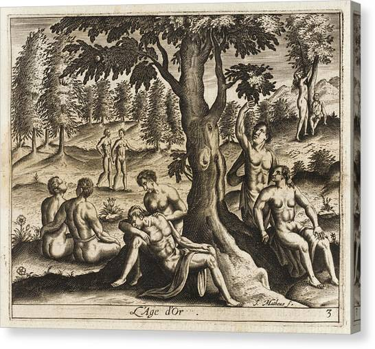 The Idyllic Period Of Human  History Canvas Print by Mary Evans Picture Library