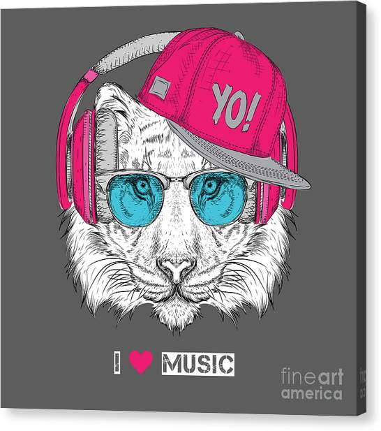 Headphones Canvas Print - The Image Of The Tiger In The Glasses by Sunny Whale