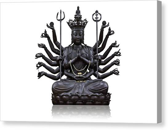 The Images Of Guanyin Black Canvas Print