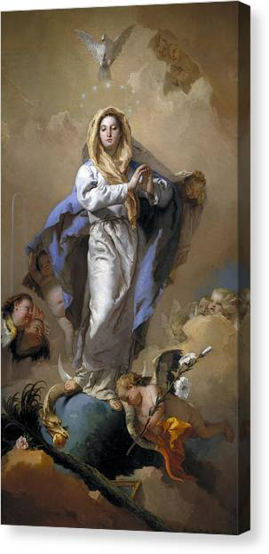 Canvas Print featuring the painting The Immaculate Conception by Giovanni Battista Tiepolo