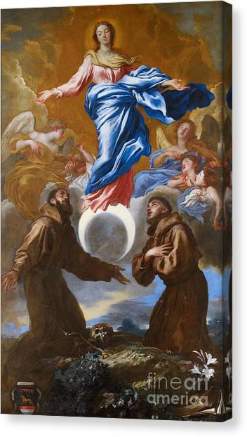 St Mary Canvas Print - The Immaculate Conception With Saints Francis Of Assisi And Anthony Of Padua by Il Grechetto