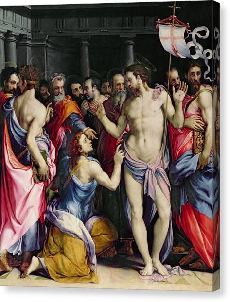 Resurrected Canvas Print - The Incredulity Of Saint Thomas by Francesco de Rossi Salviati Cecchino