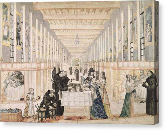 Sick Canvas Print - The Infirmary Of The Sisters Of Charity During A Visit Of Anne Of Austria  by Abraham Bosse