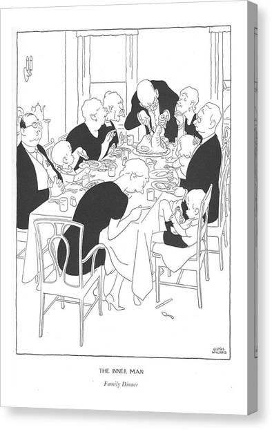 Turkey Dinner Canvas Print - The Inner Man  Family Dinner by Gluyas Williams