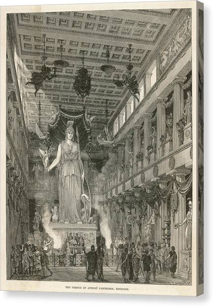 The Interior Of The Parthenon,  Or Canvas Print by Mary Evans Picture Library