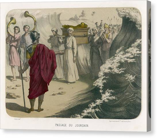 River Jordan Canvas Print - The Israelites Carry The Ark by Mary Evans Picture Library