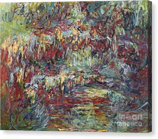Weeping Willows Canvas Print - The Japanese Bridge At Giverny by Claude Monet