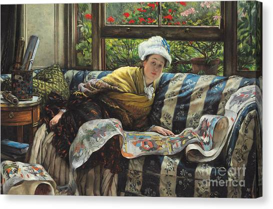 Victorian Garden Canvas Print - The Japanese Scroll by Tissot