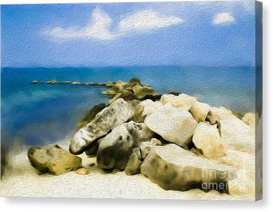 The Jetty At Seven Mile Beach In Grand Cayman Canvas Print