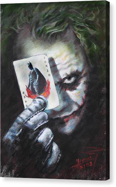 Knights Canvas Print - The Joker Heath Ledger  by Viola El