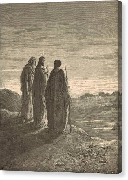 The Journey To Emmaus Canvas Print by Antique Engravings