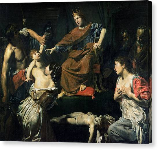 Old Testament Canvas Print - The Judgement Of Solomon Oil On Canvas by Valentin de Boulogne