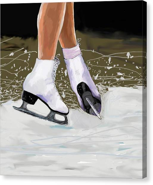 Figure Skating Canvas Print - The Jump by Jeanne Fischer