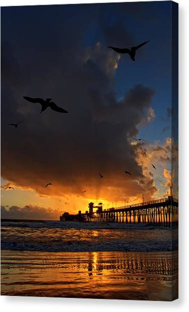 Canvas Print - The Jutting Pier At Sundown  by Donna Pagakis