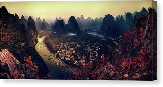 Aerial Canvas Print - The Karst Mountains Of Guangxi by Clemens Geiger