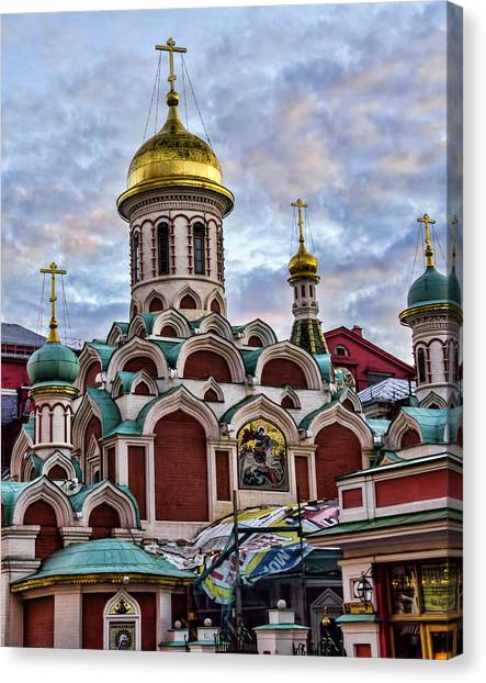 St John The Russian Canvas Print - The Kazan Cathedral - Red Square - Moscow Russia by Jon Berghoff