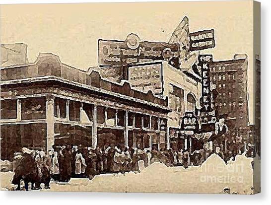 The Keeney Theatre In Newark N J In Winter 1914  Canvas Print by Dwight Goss