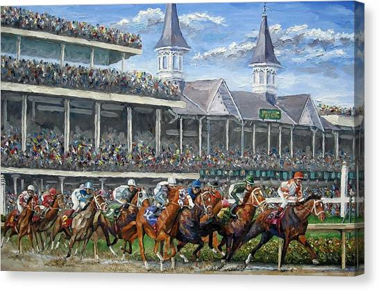 Race Horses Canvas Print - The Kentucky Derby - Churchill Downs by Mike Rabe