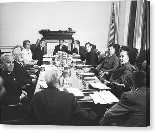 Lyndon Johnson Canvas Print - The Kerner Commission by Underwood Archives