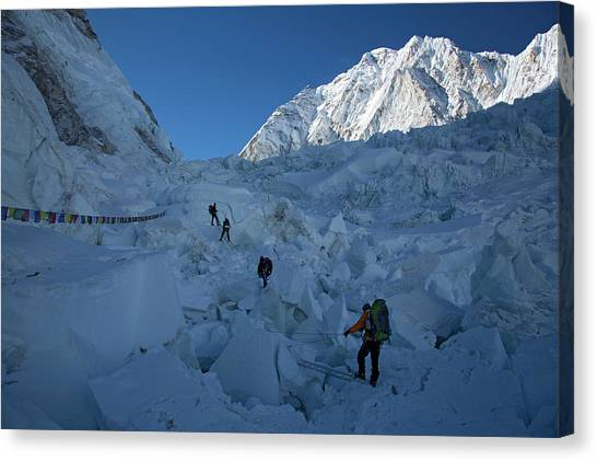 Backpacks Canvas Print - The Khumbu Icefall Early Morning by Jonathan Griffith