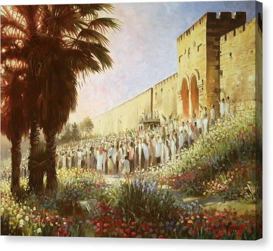 The King Is Coming  Jerusalem Canvas Print