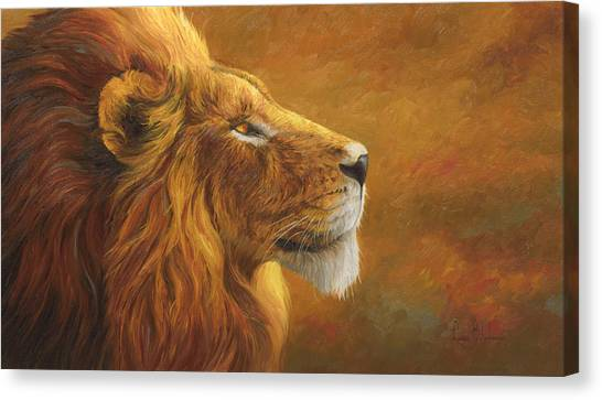 Lions Canvas Print - The King by Lucie Bilodeau
