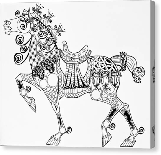 The King's Horse - Zentangle Canvas Print