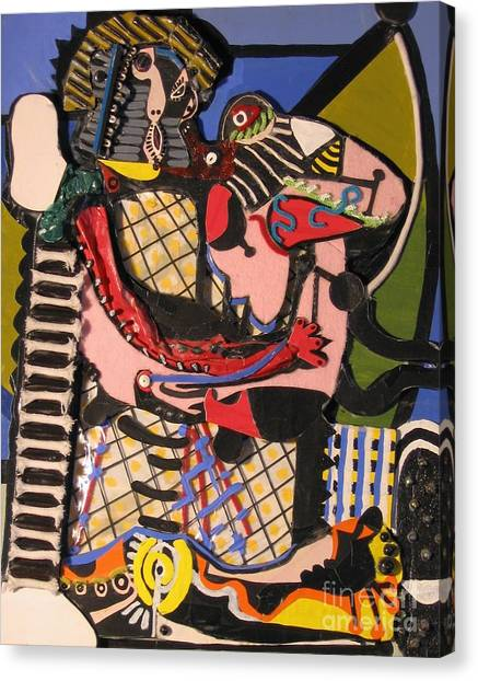 Junk Canvas Print - The Kiss Aka The Embrace After Picasso 1925 by Mack Galixtar