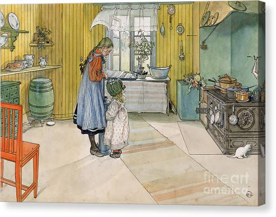 Pinafores Canvas Print - The Kitchen From A Home Series by Carl Larsson