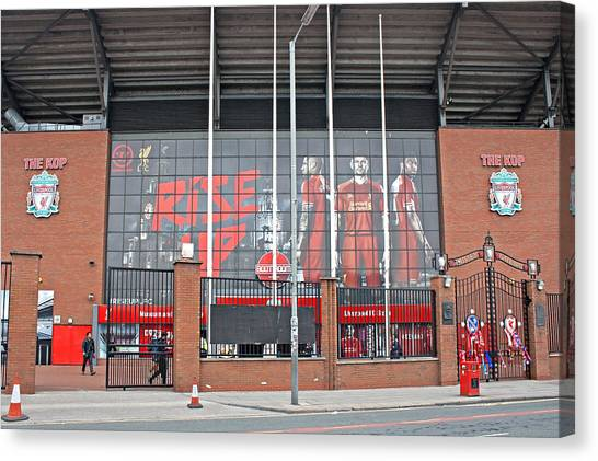 British Premier League Canvas Print - The Kop Liverpool Football Club by Ken Biggs