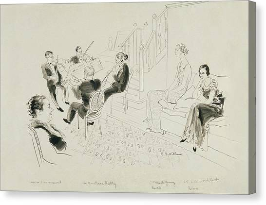 Stringed Instruments Canvas Print - The Krettly Quartet by Rene Bouet-Willaumez