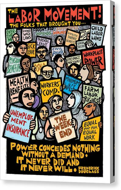Rights Canvas Print - The Labor Movement by Ricardo Levins Morales