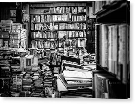 Libraries Canvas Print - The Lady And Her Shelfs by Marco Tagliarino