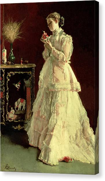 Lacquer Canvas Print - The Lady In Pink, 1867 Oil On Panel by Alfred Emile Stevens