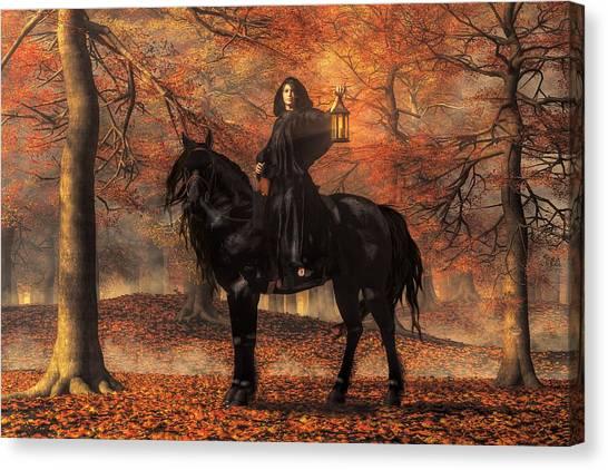 Black Stallion Canvas Print - The Lady Of Halloween by Daniel Eskridge