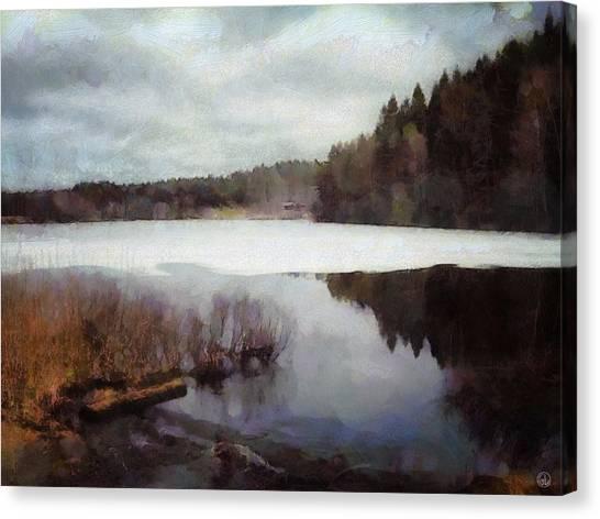 The Lake In My Little Village Canvas Print by Gun Legler