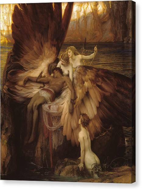 Canvas Print featuring the painting The Lament For Icarus by Herbert James Draper