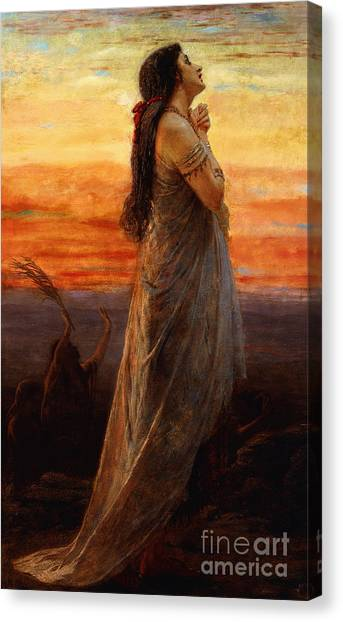 Holy Bible Canvas Print - The Lament Of Jephthahs Daughter by George Elgar Hicks