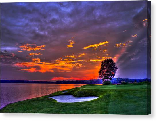 Jack Nicklaus Canvas Print - The Landing Golf Sunset On Lake Oconee  by Reid Callaway